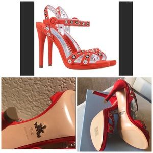 PRADA Red Leather Sandals 8.5 (38.5) ♥️ NEW IN BOX